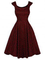 Cap Sleeve Polka Dot Swing Dress