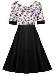 Floral Trim High Wait Swing Dress