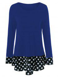 Polka Dot Patchwork Flounced T-Shirt
