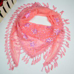 Flower Embroidery Tassel Pendant Edge Triangle Scarf