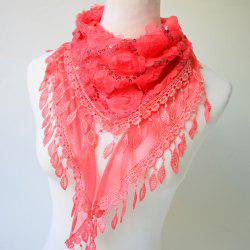 Sequined Tassel Pendant Edge Rose Shape Lace Triangle Scarf -