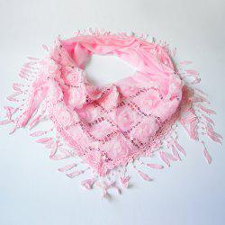 Sequined Tassel Pendant Edge Rose Shape Lace Triangle Scarf