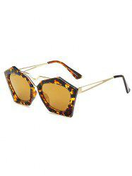 Irregular Leopard Faux Amber Polarized Sunglasses - GOLDEN