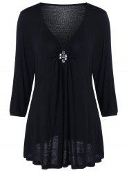 Plus Size V Neck Rhinestone Decorated Blouse - BLACK