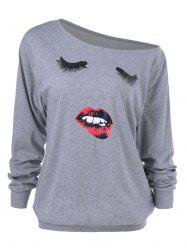 Lip Eyelashes Print Skew Collar Sweatshirt