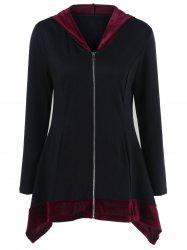 Asymmetrical Two Tone Long Jacket With Hood -