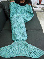 Wave Stripe Knitted Sleeping Bag Mermaid Blanket -