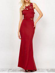 Lace Panel Backless Wedding Long Prom Dress - DEEP RED M