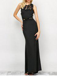 Lace Panel Backless Fitted Long Formal Dress