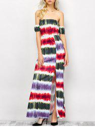 Strapless Tie Dye Striped Maxi Dress -