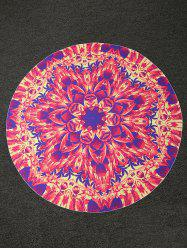 Bohemian Lotus Print Round Shape Beach Throw - RED