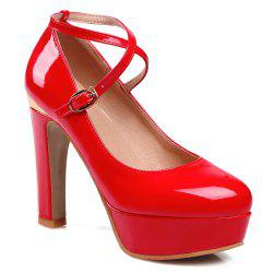 Metal Cross Straps Platform Pumps - RED