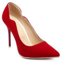 V-Shaped Cut Pointed Toe Pumps - RED