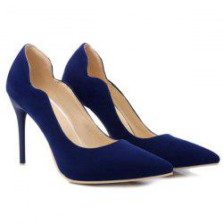 V-Shaped Cut Pointed Toe Pumps - DEEP BLUE