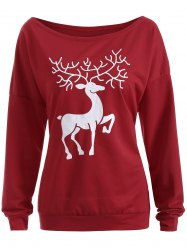 Sweat-shirt imprimé renne de Noël - Rouge Vineux
