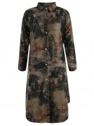Landscape Ink Painting Long Button Up Coat -