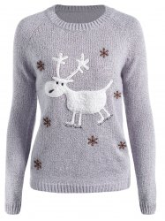 Christmas Reindeer Snowflake Embroidered Sweater