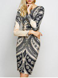 Tribal Totem Printed  Cut Out Dress