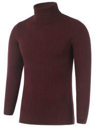 Turtleneck Plain Ribbed Knit Sweater