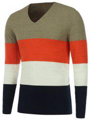 V Neck Color Matching Texture Knit Sweater -