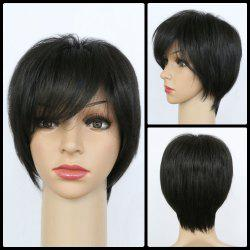 Handsome Synthetic Black Short Fluffy Side Bang Wig For Women - BLACK