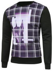 Animal Graphic Plaid Crew Neck Sweatshirt -