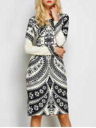 Tribal Print Open Back Sheath Dress -
