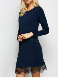 Long Sleeves Lace Insert Shift Dress