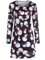 Snowman Print Christmas A-Line Dress - BLACK XL
