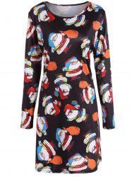 Christmas Santa Claus Print A-Line Dress