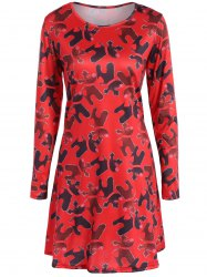 Christmas Deer Print A-Line Dress - RED XL