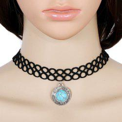 Artificial Turquoise Infinite Velvet Choker Necklace