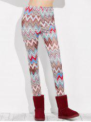 High Rise Leggings With Zigzag Print -