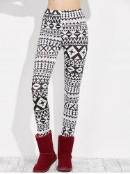 Skinny Geometric Leggings - WHITE/BLACK XL