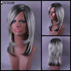 Medium Side Parting Color Mixed Straight Siv Human Hair Wig -