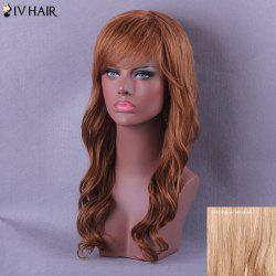 Long Oblique Bang Wavy Siv Human Hair Wig