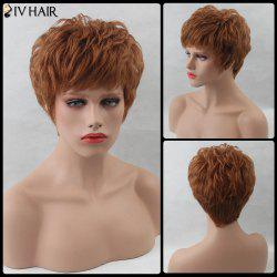 Layered Shaggy Short Inclined Bang Straight Siv Human Hair Wig -