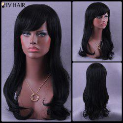 Long Inclined Bang Shaggy Slightly Curled Siv Human Hair Wig -