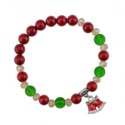 Bows Christmas Bells Charm Beaded Bracelet