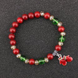 Bows Christmas Gloves Charm Beaded Bracelet