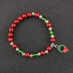Christmas Garland Charm Beaded Bracelet