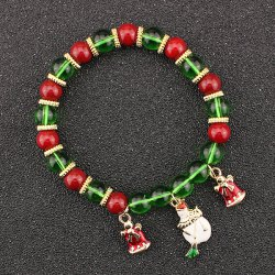 Christmas Bells Snowman Charm Beaded Bracelet