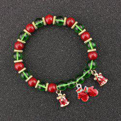 Christmas Bells Gloves Charm Beaded Bracelet - GREEN