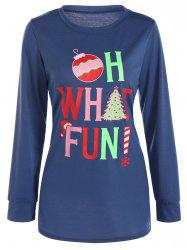 Christmas Print Longline T-Shirt - CADETBLUE XL