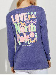 Funny Print Long Sleeves Tunic T-Shirt - PURPLE XL