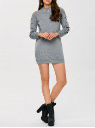 Long Sleeve Ripped Bodycon Day Dress