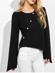 Bell Sleeves High Low Knitwear - BLACK XL