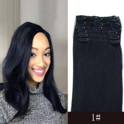 7 Pcs/Set Long Straight Clip-In High Temperature Fiber Hair Extension - JET BLACK