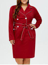 Lapel Plus Size Belted Bodycon Dress