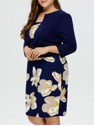 Floral Printed Belted Plus Size Peplum Dress With Sleeves